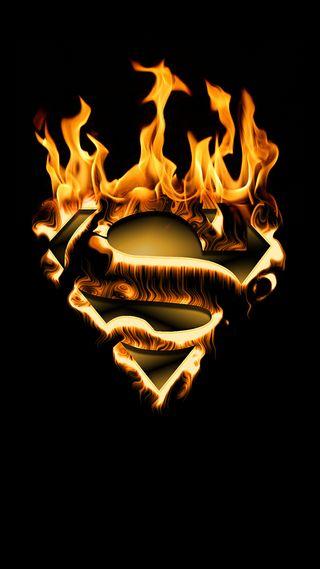 Обои на телефон супермен, огонь, фильмы, пламя, логотипы, suoerman