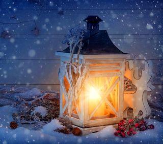 Обои на телефон christmas lantern, ночь, рождество, зима, снег, свет, счастливое, украшение, фонарь