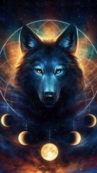 Обои на телефон оранжевые, черные, синие, луна, волк, the moon wolf