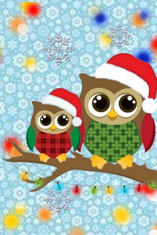 Обои на телефон счастливое, сова, снежинки, санта, рождество, зима, 640x960px