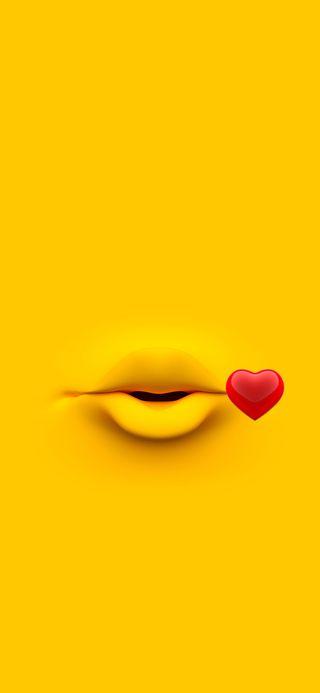 Обои на телефон поцелуй, фон, красые, иллюзии, желтые, губы, абстрактные, mounth