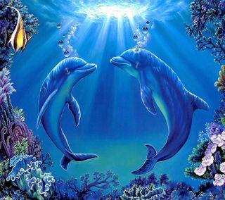 Обои на телефон delfine, underwater  delfine, подводные