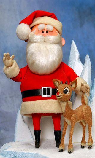 Обои на телефон олень, шляпа, снег, санта, рождество, песня, нос, мультфильмы, santa and rudolph, rudolph