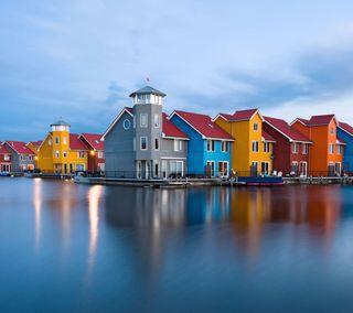 Обои на телефон дом, цветные, океан, море, здания, дома, вода, color houses