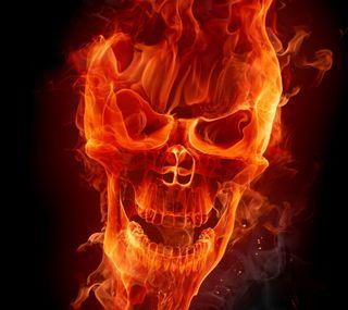 Обои на телефон пламя, череп, огонь, крутые, дизайн, абстрактные, flaming skull