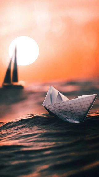Обои на телефон море, природа, лодки, закат, вода, бумага, арт, art