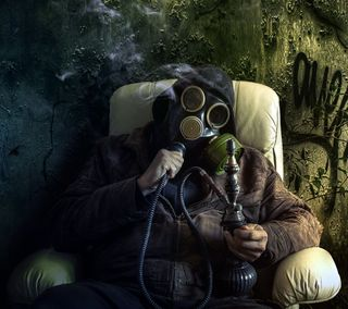 Обои на телефон человек, маска, дым, другие, газ, hooka