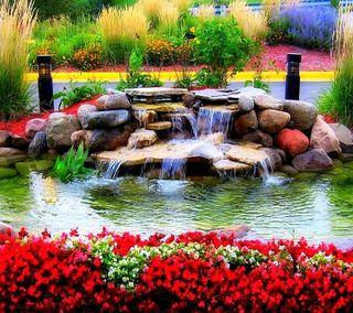 Обои на телефон водопад, цветы, природа, пейзаж, вода