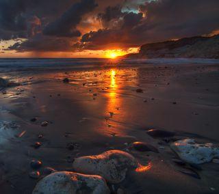 Обои на телефон закат, волна, солнце, пляж