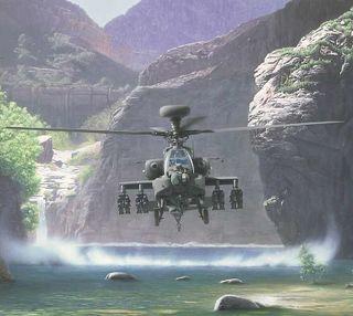 Обои на телефон туман, военные, вода, вертолет, apache