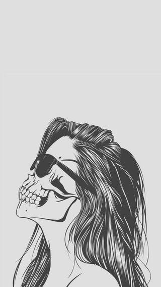 Обои на телефон череп, солнечные очки, смерть, рисунки, приятные, мертвый, девушки, айфон, iphone, afraid