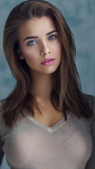 Обои на телефон brown hair, charming, pink lips, синие, милые, розовые, прекрасные, девушки, красота, симпатичные, глаза, коричневые, губы, волосы, портрет, великолепные