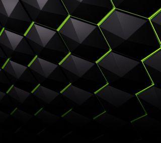 Обои на телефон шесть, шестиугольники, куб, черные, темные, сетка, кристалл, зеленые, грани, hexagon edges