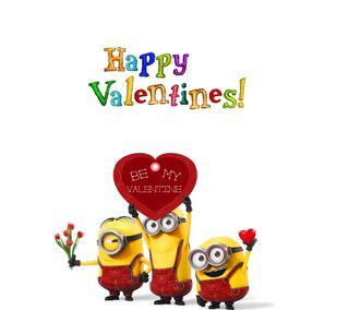 Обои на телефон валентинки, счастливые, сердце, миньоны, happy
