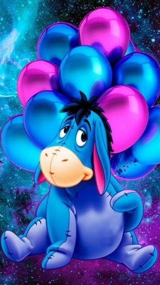 Обои на телефон шарики, пух, фиолетовые, синие, eeyore
