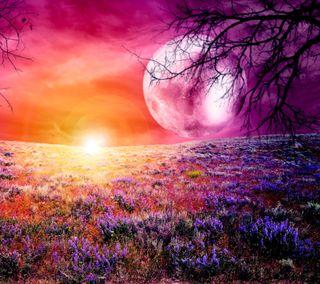 Обои на телефон яркие, цветы, фиолетовые, природа, поле, пейзаж, луна, красочные, живописные, дерево, hd, full moon delight