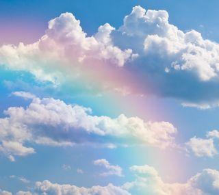 Обои на телефон радуга, природа, облака, rainbow-clouds