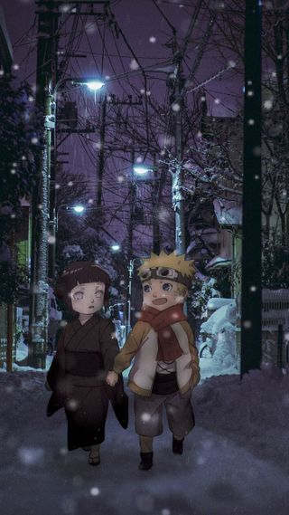 Обои на телефон хината, снег, пейзаж, наруто, любовь, коноха, аниме, shippuden, naruto and hinata, love, copule