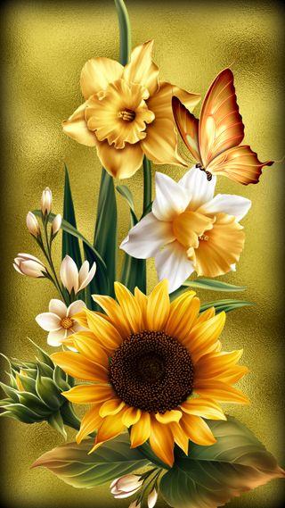 Обои на телефон пасхальные, цветы, христианские, сезон, желтые, дизайн, бабочки, апрель