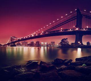 Обои на телефон мост, пейзаж, манхэттен, город