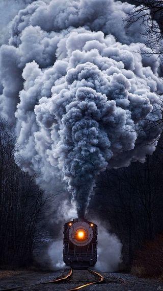 Обои на телефон поезда, дым