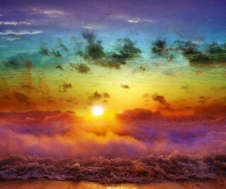 Обои на телефон берег, пляж, пейзаж, облака, красочные, закат, волны, волна, colorful beach