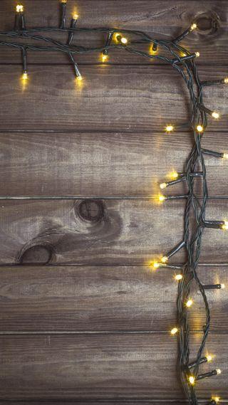 Обои на телефон деревянные, рождество, огни, дерево