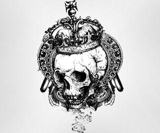 Обои на телефон корона, черные, череп, белые, skull with crown