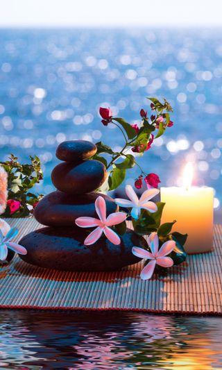 Обои на телефон свечи, цветы, релакс, приятные, новый, мир, дзен, harmony