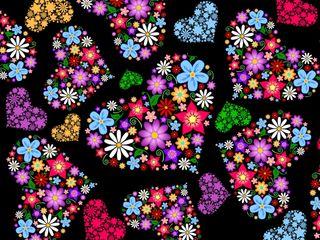 Обои на телефон цветочные, праздник, сердце, красочные, день, floral hearts