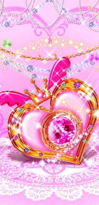 Обои на телефон love, crowned heart, любовь, розовые, прекрасные, сердце, золотые, симпатичные, девчачие, сверкающие, принцесса, кружево