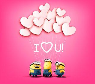 Обои на телефон валентинки, ты, сердце, розовые, миньоны, милые, любовь, minion love you, love, i love you