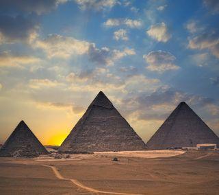 Обои на телефон пустыня, солнце, пирамиды, пирамида, небо, закат, египет, pyramid hd, mummy