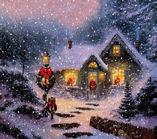 Обои на телефон дом, снег, рождество, ночь, зима