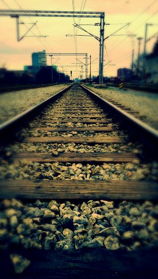 Обои на телефон поезда, закат, город, trainstation, rails