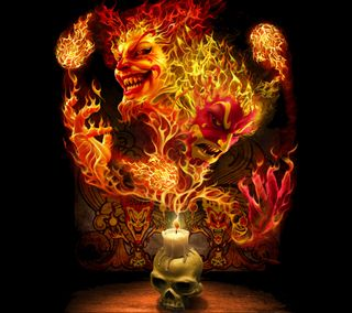 Обои на телефон жуткие, череп, цветные, ужасы, темные, страшные, огонь, игра, готические, арт, play with fire, art