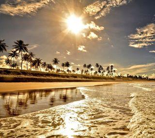 Обои на телефон пляж, лето, золотые, восход, волны, golden sunrise