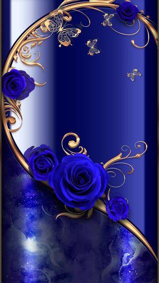 Обои на телефон экран, цветы, синие, розы, золотые, бабочки