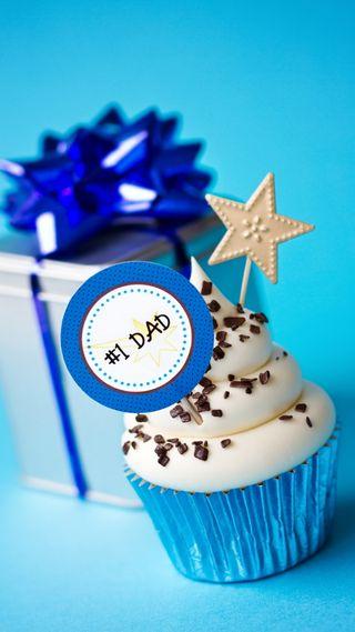 Обои на телефон отец, счастливые, синие, празднование, пожелания, кекс, звезда, день, nr one dad, happy