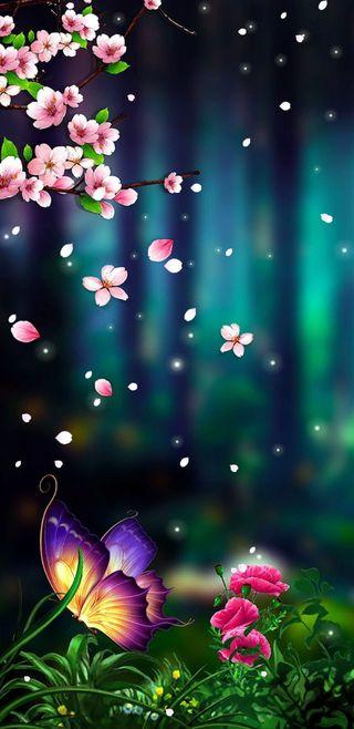 Обои на телефон фантазия, цветы, природа, красочные, бабочки, 3д, 3d