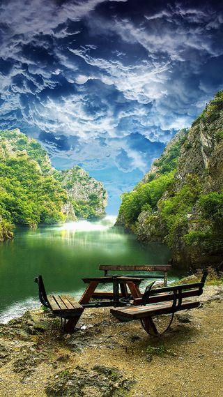 Обои на телефон река, синие, облака, зеленые, вода, shy
