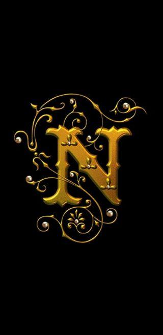 Обои на телефон черные, золотые, буквы, royal, letter n