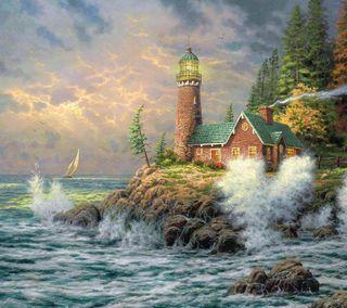 Обои на телефон берег, природа, озеро, маяк, картина, дым, дом, волна, thomas kinkade