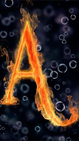Обои на телефон огонь, черные, текст, пузыри, под, океан, круги, вода, буквы, абстрактные, letter a under water
