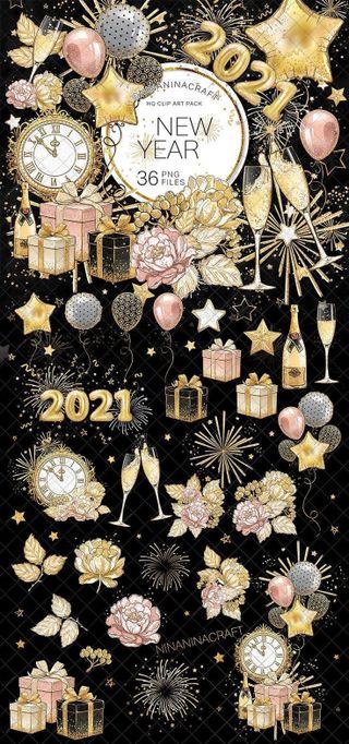 Обои на телефон шары, черные, розовые, подарок, новый, золотые, год, вино, блестящие, new year 2021