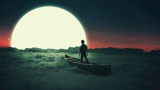 Обои на телефон лодки, фантазия, полет, одиночество, мечта, мальчик, луна