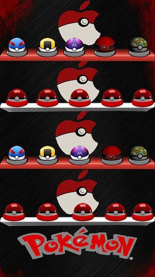 Обои на телефон эпл, покемоны, покебол, shelfs, shelf, pokeballs, pokeball shelf, apple