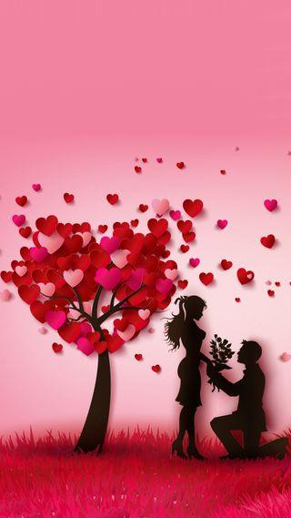 Обои на телефон навсегда, цветы, сердце, пара, любовь, красые, дерево, валентинка, love, cupid