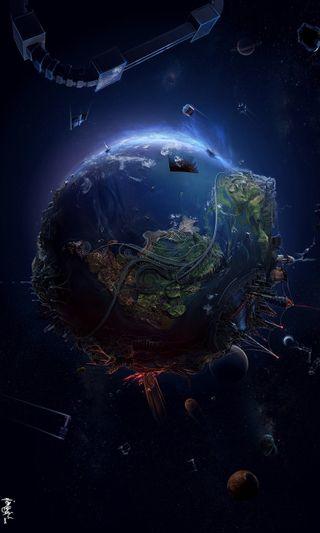 Обои на телефон круги, планета, мир, космос, земля, earth depicted