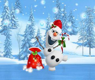 Обои на телефон холодное, счастливое, снеговик, рождество, подарок, олаф, olaf christmas